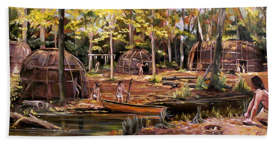 Institute Of American Indian Bath Sheet featuring the painting The Pequots by Nancy Griswold
