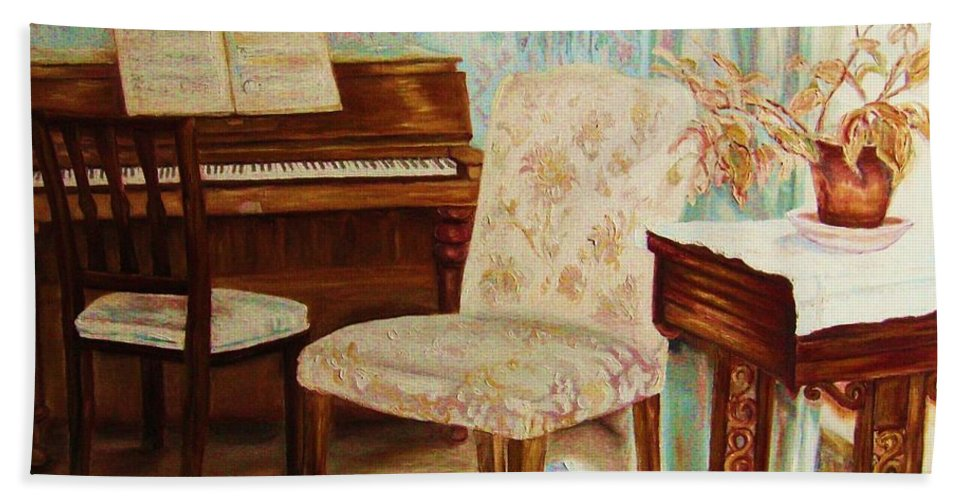 Iimpressionism Bath Sheet featuring the painting The Piano Room by Carole Spandau