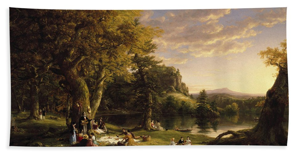 Thomas Cole Bath Sheet featuring the painting The Pic-nic by Thomas Cole