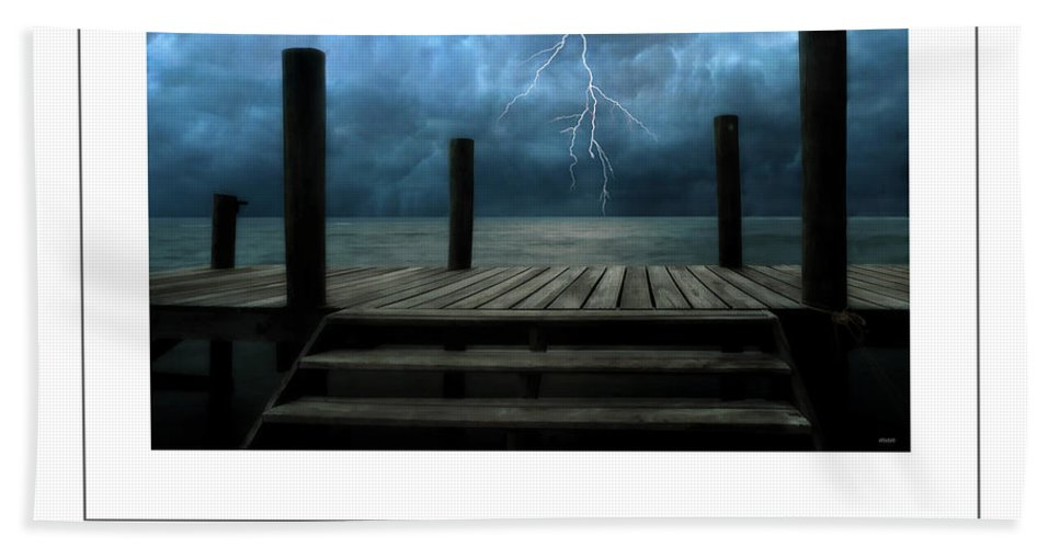 Pier Hand Towel featuring the photograph The Pier And The Storm Poster by Mike Nellums