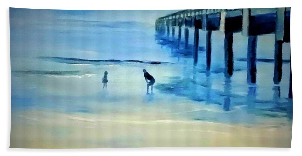 #beach Hand Towel featuring the painting The Pier by Cindy Harvell