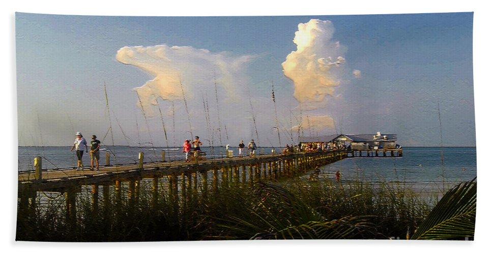 Pier Bath Sheet featuring the photograph The Pier On Anna Maria Island by David Lee Thompson