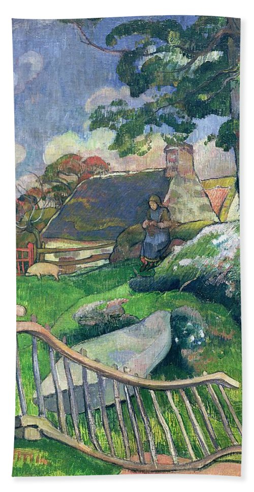 The Wooden Gate Or Hand Towel featuring the painting The Pig Keeper by Paul Gauguin