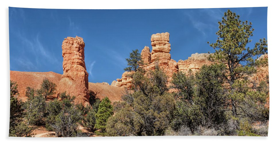 Adventure Hand Towel featuring the photograph The Pillars by John M Bailey