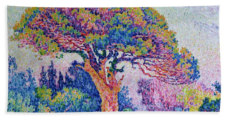 The Pine Tree At St. Tropez Hand Towel featuring the painting The Pine Tree At Saint Tropez by Paul Signac