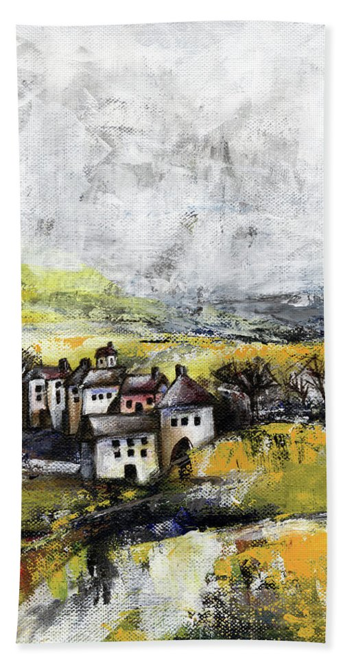 Landscape Bath Towel featuring the painting The pink house by Aniko Hencz