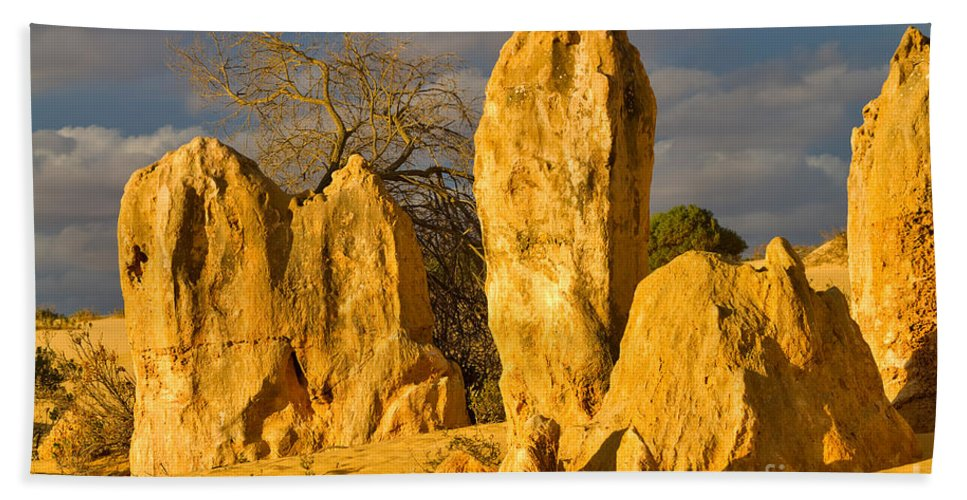Travel Hand Towel featuring the photograph The Pinnacles Nambung National Park Australia by Louise Heusinkveld