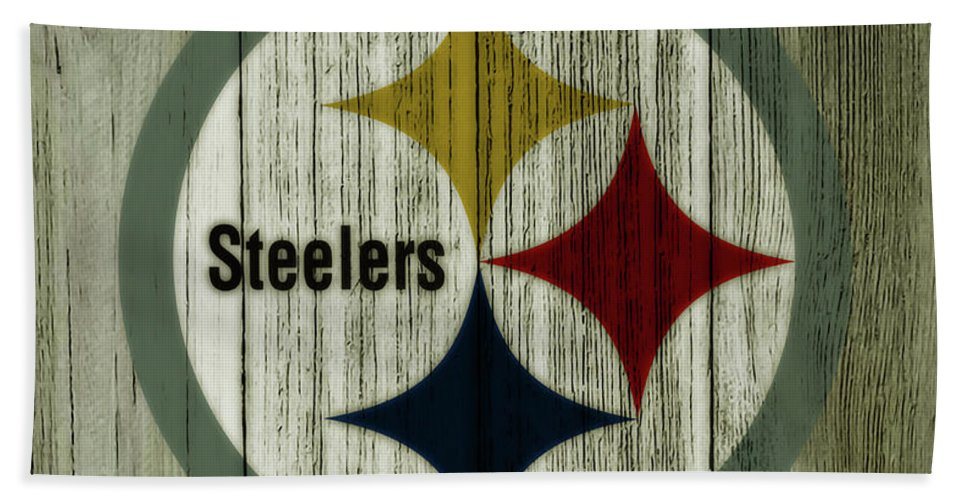 The Pittsburgh Steelers Bath Towel featuring the mixed media The Pittsburgh Steelers C1 by Brian Reaves