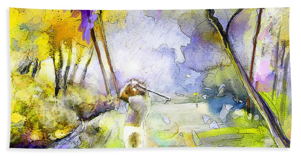 Golf Hand Towel featuring the painting The Players Championship 2010 by Miki De Goodaboom