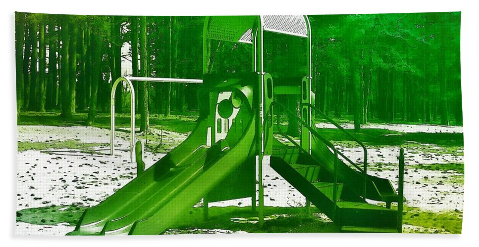 Playgrounds Hand Towel featuring the photograph The Playground II - Ocean County Park by Angie Tirado