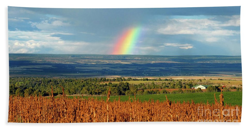 Pleasant View Colorado Bath Sheet featuring the photograph The Pleasant View Rainbow by David Lee Thompson