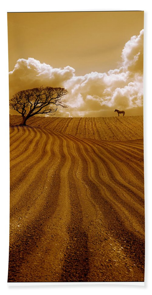 Field Bath Sheet featuring the photograph The Ploughed Field by Mal Bray