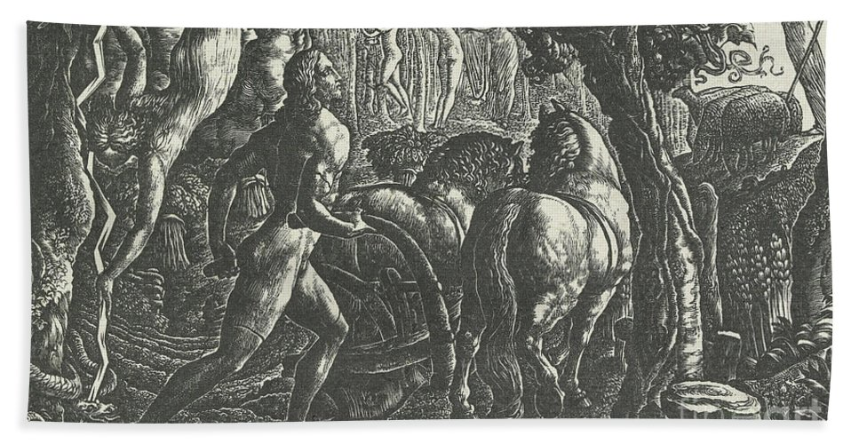 Ploughman Hand Towel featuring the drawing The Ploughman Christian Ploughing The Last Furrow Of Life by Edward Calvert