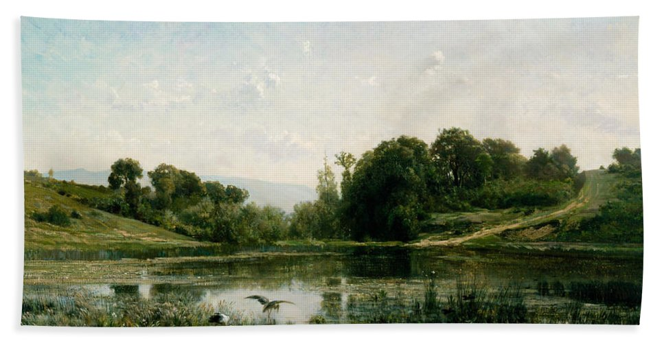 Charles-francois Daubigny Hand Towel featuring the painting The Ponds Of Gylieu by Charles-Francois Daubigny
