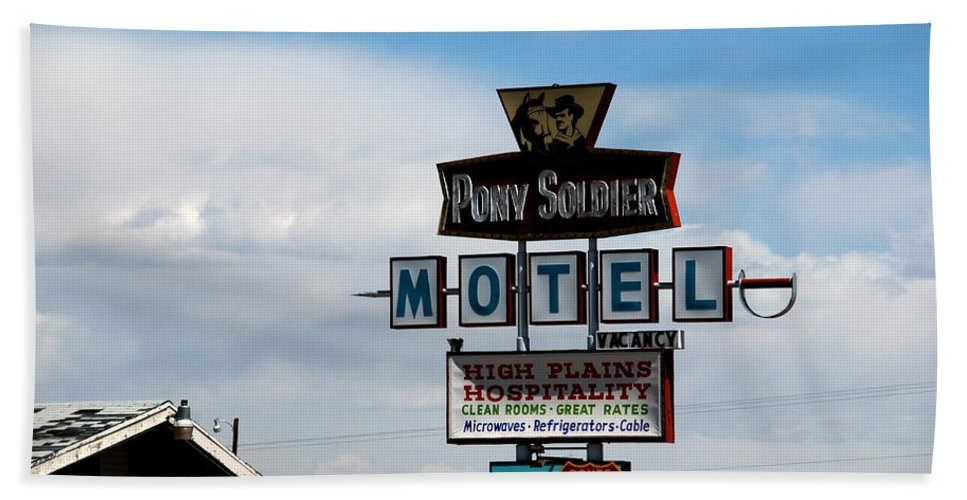 Pony Soldier Motel Bath Sheet featuring the photograph The Pony Soldier Motel On Route 66 by Susanne Van Hulst