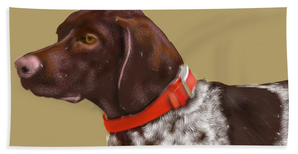 Animals Bath Sheet featuring the painting The Pooch With A Red Collar by Lois Ivancin Tavaf