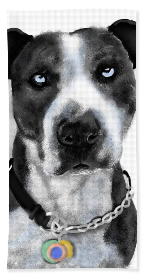 Animals Bath Sheet featuring the painting The Pooch With Blue Eyes by Lois Ivancin Tavaf