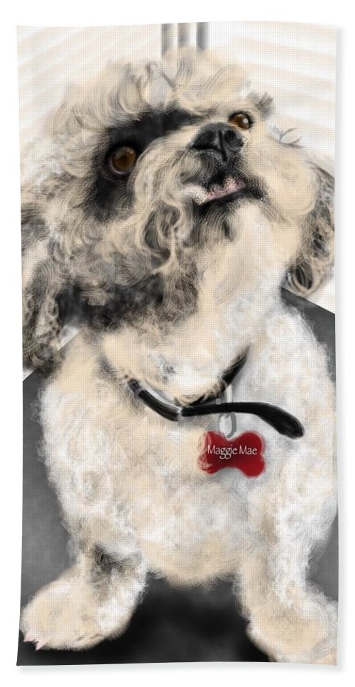Animals Hand Towel featuring the painting The Pooch With The Crooked Tooth by Lois Ivancin Tavaf