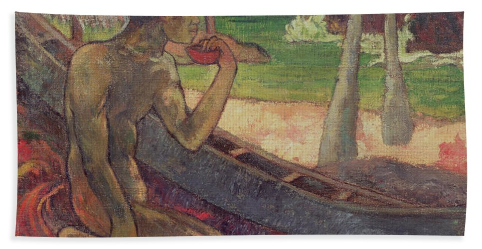 The Poor Fisherman Hand Towel featuring the painting The Poor Fisherman by Paul Gauguin