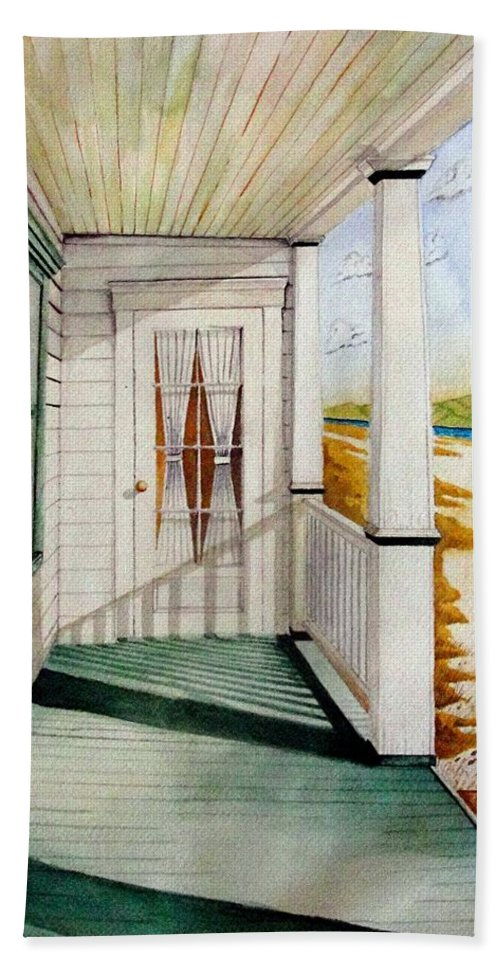 Art Bath Sheet featuring the painting The Porch by Jimmy Smith