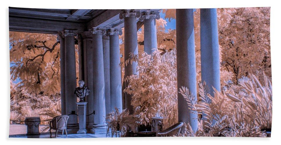 Garden Bath Sheet featuring the photograph The Porch Of The European Collection Art Gallery At The Huntington Library In Infrared by Randall Nyhof