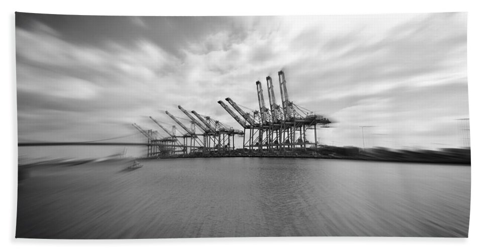 Pinhole Hand Towel featuring the photograph The Port Of Los Angeles by Judith Kitzes