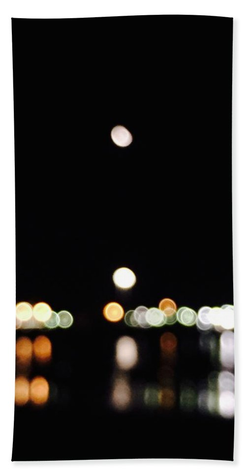 Port Bath Sheet featuring the photograph The Port, The Lights, And The Moon by Ingrid Van Amsterdam