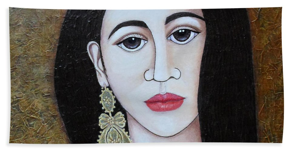 Woman Bath Sheet featuring the painting The Portuguese Earring 2 by Madalena Lobao-Tello