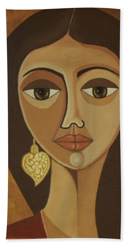 Portuguese Bath Towel featuring the painting The Portuguese Earring by Madalena Lobao-Tello