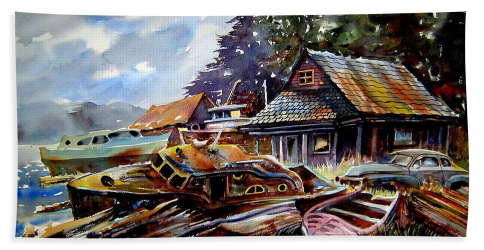 Boats Hand Towel featuring the painting The Preserve Of Captain Flood by Ron Morrison
