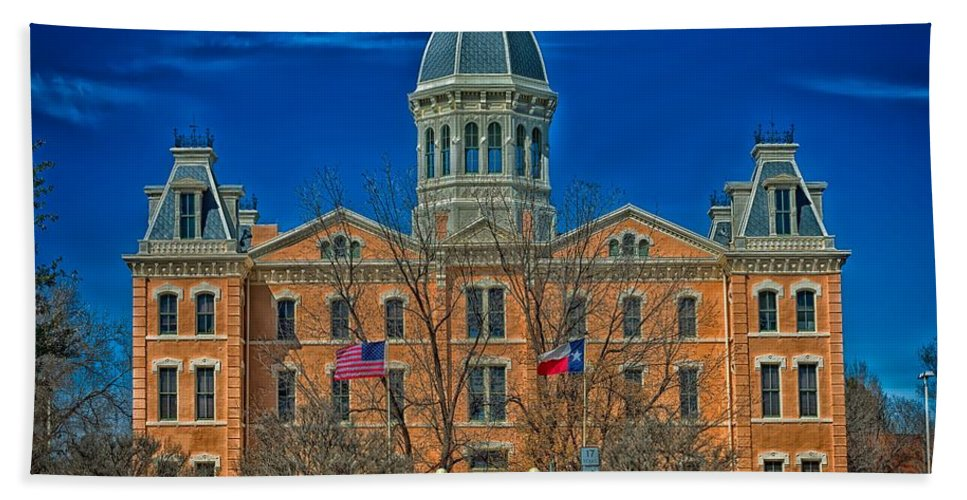 Presidio County Hand Towel featuring the photograph The Presidio County Courthouse by Mountain Dreams