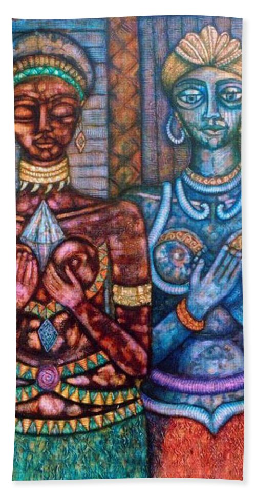 Priestesses Bath Towel featuring the painting The Priestess Of The Occult by Madalena Lobao-Tello