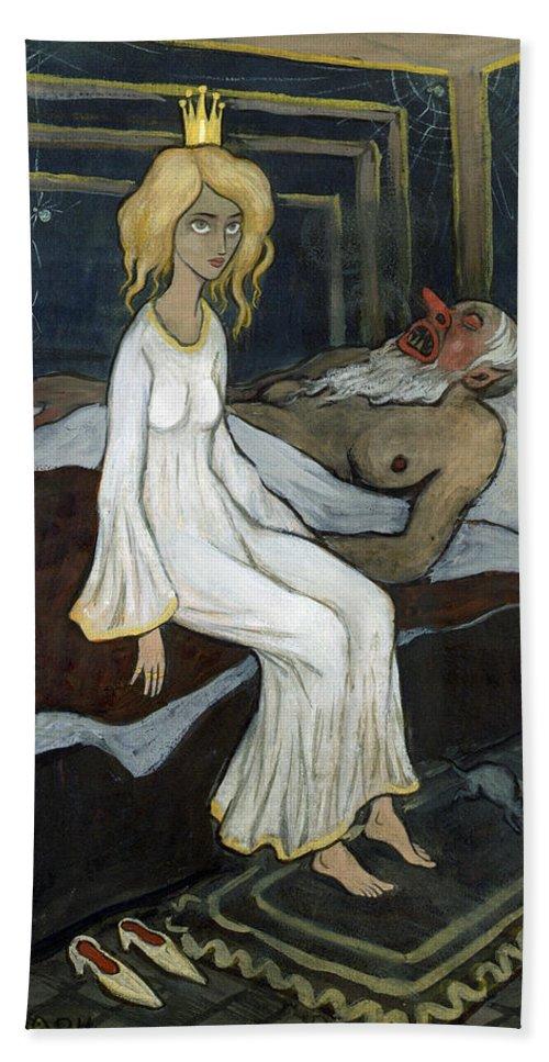Ivar Arosenius Hand Towel featuring the drawing The Princess And The Troll by Ivar Arosenius