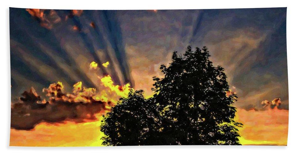 Sunset Bath Sheet featuring the photograph The Promise Oil by Steve Harrington