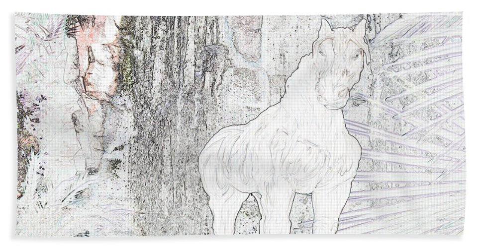 Waterfall Horse Horses Stallion Jungle Forest Scenery Trees Fantasy Bath Sheet featuring the photograph The Protector by Andrea Lawrence