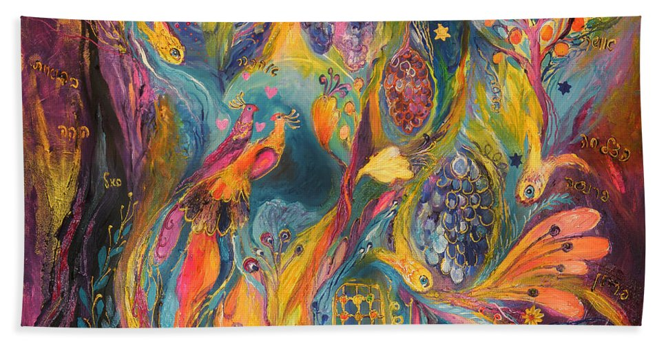 Original Bath Sheet featuring the painting The Purple Rain by Elena Kotliarker