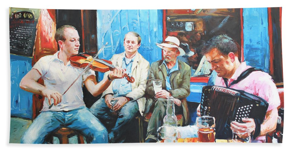 Streetscape Bath Sheet featuring the painting The Quay Players by Conor McGuire