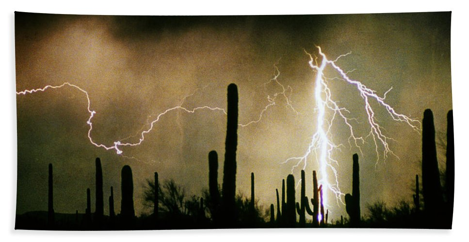 Lightning Bath Sheet featuring the photograph The Quiet Southwest Desert Lightning Storm by James BO Insogna