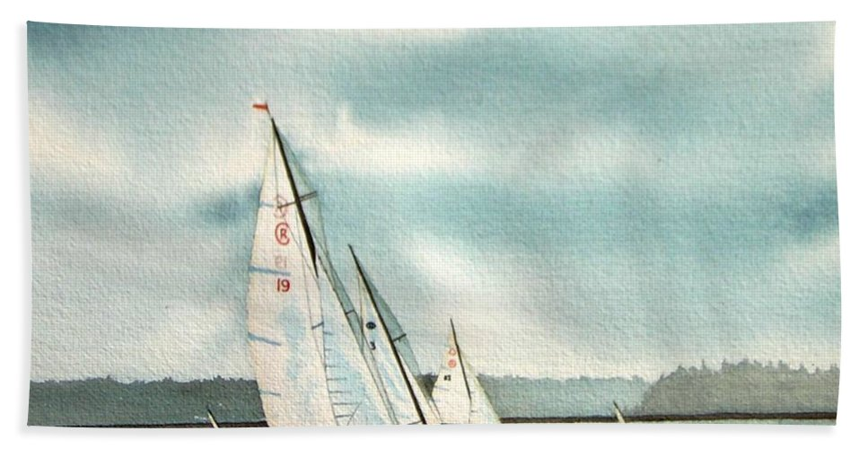 Sailing Hand Towel featuring the painting The Race by Gale Cochran-Smith