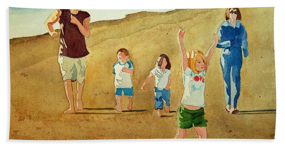 Beach Hand Towel featuring the painting The Race by Terry Holliday