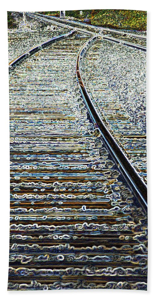 Rail Hand Towel featuring the photograph The Rails Edge by Tim Allen