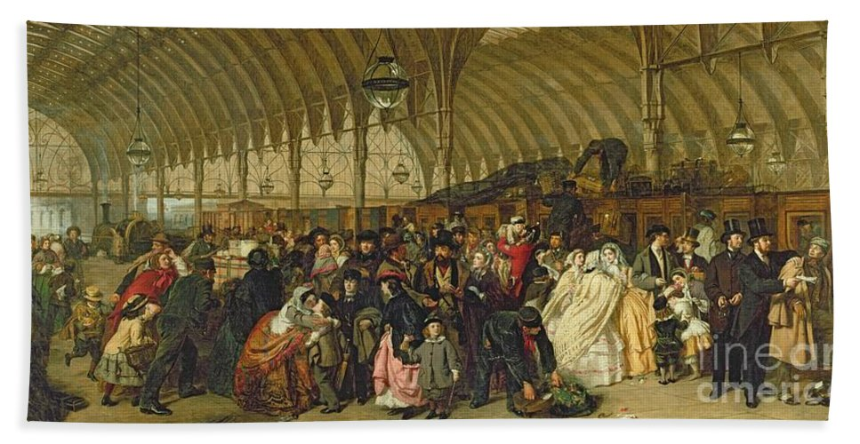 The Railway Station Hand Towel featuring the painting The Railway Station by William Powell Frith