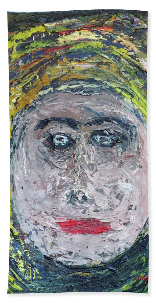 Abstract Hand Towel featuring the painting The Rajah's Grand-daughter by Larry Guenther