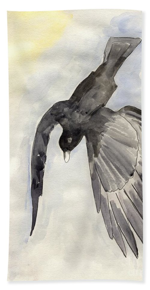 Painting Bath Sheet featuring the painting The Raven by Anne Gitto