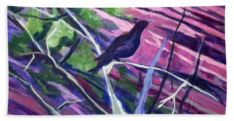 Raven Painting Hand Towel featuring the painting The Raven by Betty Pieper