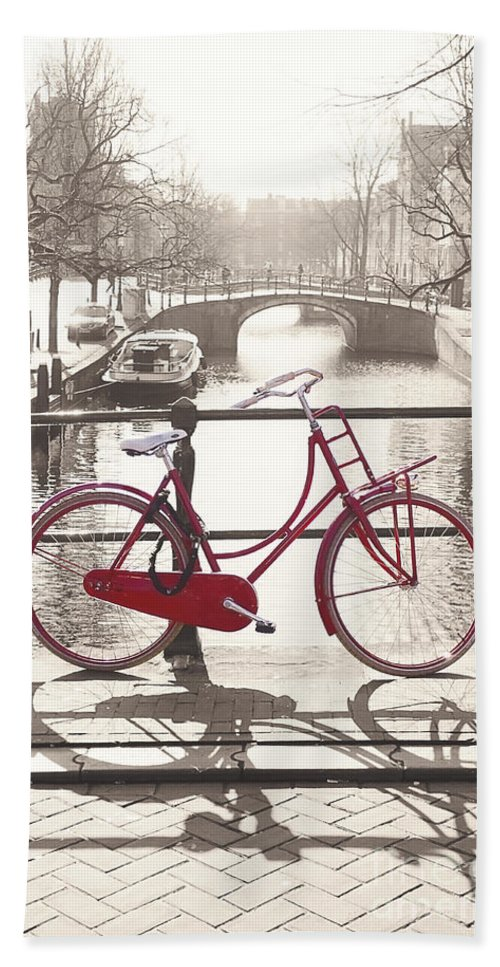 Amsterdam Hand Towel featuring the photograph The Red Bicycle Of Amsterdam by Saiid El Ghazal