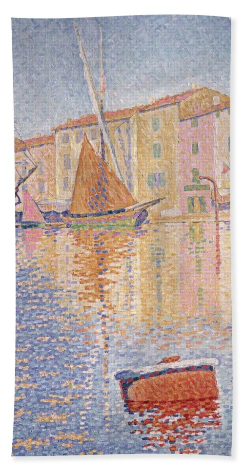 The Red Buoy Bath Sheet featuring the painting The Red Buoy by Paul Signac