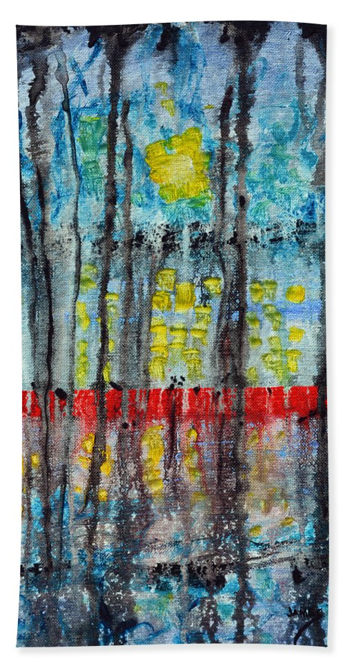 Red Dock Bath Sheet featuring the painting The Red Dock by James Pinkerton