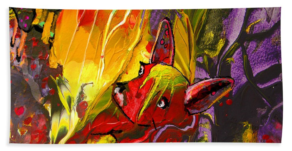 Fantasy Hand Towel featuring the painting The Red Dog by Miki De Goodaboom