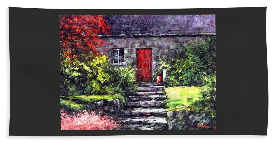 Ireland Hand Towel featuring the painting The Red Door by Jim Gola